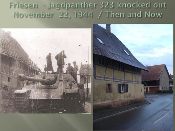 Jagdpanther 323 in Rue Principale Friesen, Alsace France