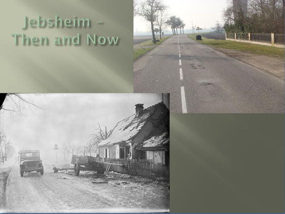 The Pak 40 is gone but the street is almost the same, leading from Jebsheim to the canal south of the village