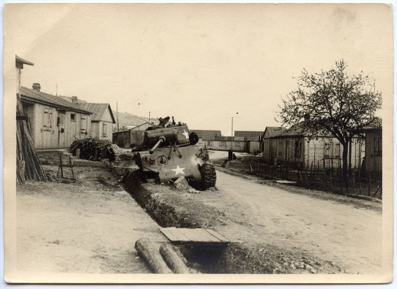 The same knocked out US M4 Sherman of the 756th Tank Battalion seen 1946