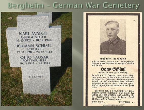 Schütze Schiml - K.I.A. 28.12.1944