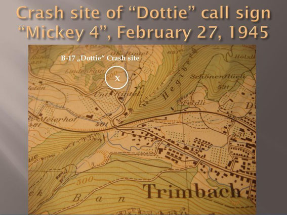 "1956 map showing crash site of ""Dottie"""