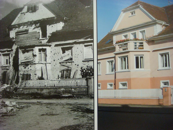 Sigolsheim after the Battle and today. (Photo courtesy Aimé Haubtmann and Société d'Histoire de Sigolsheim)