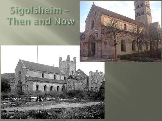 Sigolsheim Saint Pierre church then and Now