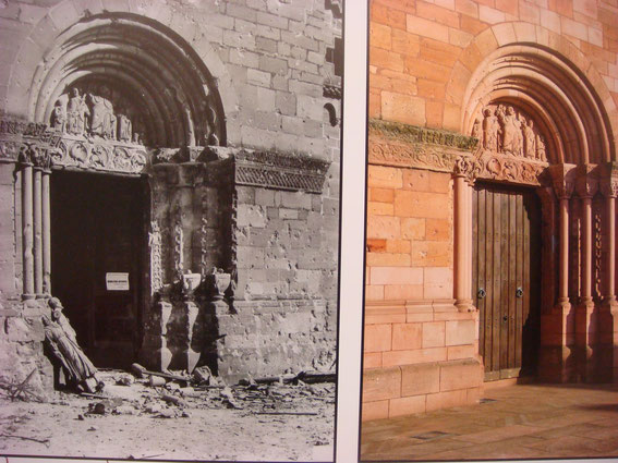 The door after the Battle and today 2015. (Photo courtesy Aimé Haubtmann and Société d'Histoire de Sigolsheim)