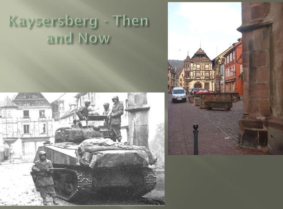 Allied Sherman tank of the 1st French RCA ((Régiment de Chasseurs d'Afrique) in Kaysersberg, December 18, 1944