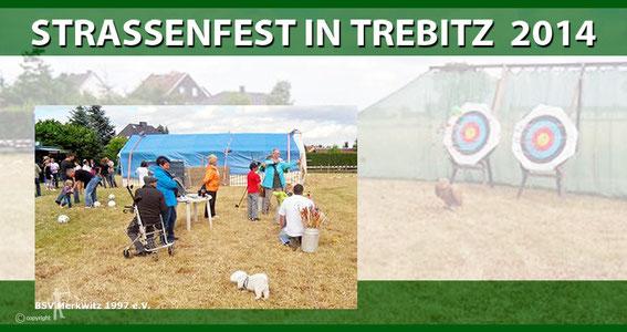 Bogenstand beim Strassenfest in Trebitz