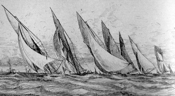 Les régates de Saint-Nazaire le 19 juillet 1889,  en tête Gallia suivie de Hilma, Arlequin, Vanda, Suzanne, Joyeuse et Myosotis (dessin de Ch. Leduc)