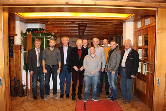 v.l. Gottfried Obermaier, Stephan Siegle, Hans Perzl, Franz Keser, Johann Buchfelner, Tobias Berghammer, Reiner Jakob, Georg Kunze, Jürgen Eder, Josef Strauß