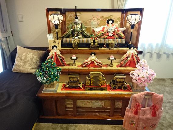 広畑区蒲田 O様宅 40号の木製3段飾り