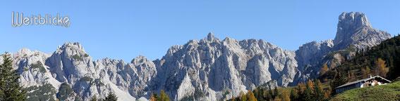 Auf der Mahdalm, Blick zu Hochkönig und Tennengebirge