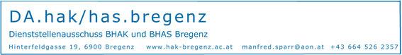 Personalvertretung der BHAK und BHAS Bregenz Vorsitzender Manfred Sparr