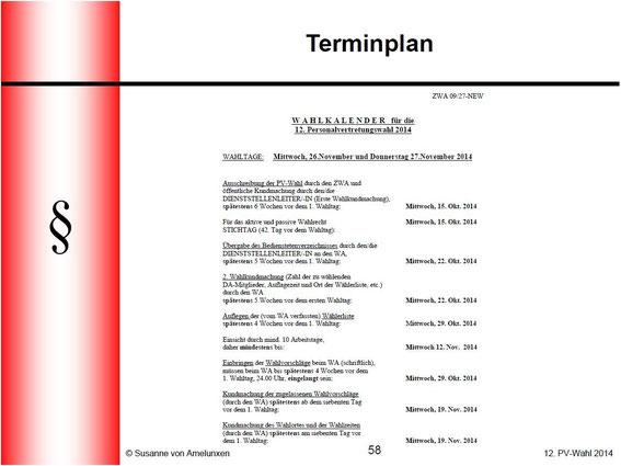 Terminplan PV-Wahl 2014