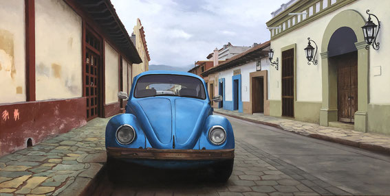 "Scott Duce, ""Vocho Viejo #36,"" 2018, oil on panel, 20 x 40 inches, $7,500"