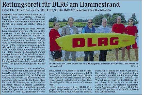 Quelle: Wümme-Zeitung 07.09.2014