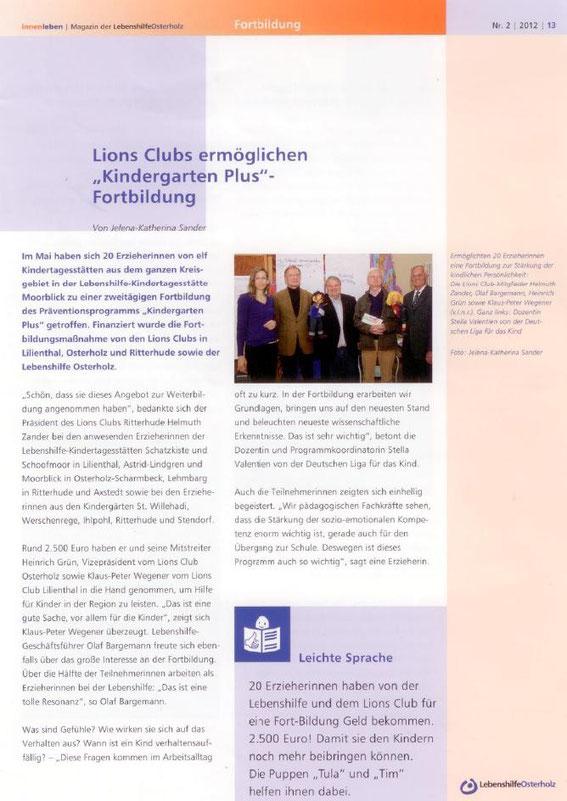 """Lions Clubs Ritterhude, Osterholz und Lilienthal ermöglichen """"Kindergarten Plus""""-Fortbildung"""