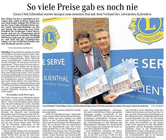 Quelle: Wümme-Zeitung vom 31.10.2014