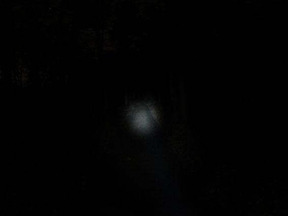 im Vergleich dazu eine herkömmliche No-Name LED-Taschenlampe an der selben Stelle