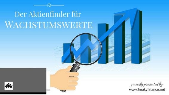 freaky finance, Aktienfinder, Wachstumswerte, Lupe, Chart, Hand