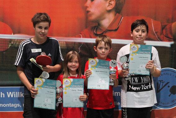Sieger bei den Mini-Meisterschaften im Tischtennis, Ortsenscheid Weinheim