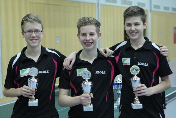 Pokalsieger Jungen: v.l. Martin Bökenfeld, Dorian Hein, Andreas Glebov