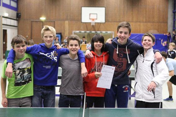 1. Platz WK III/1: Bergstraßen-Gym mit J. Zodet, J. Helbig, B. Peek, R. Zeitz, P. Veith, P. Köhler