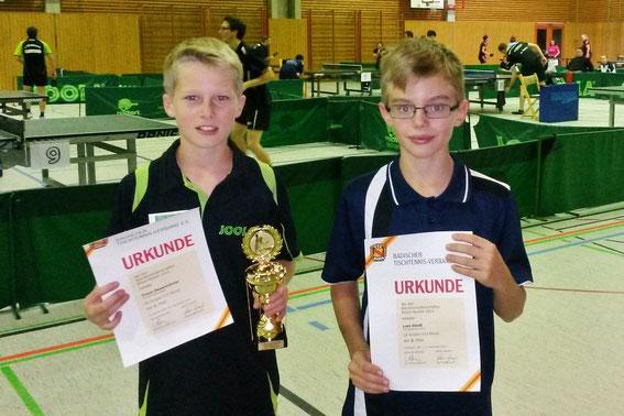Timon Dauenheimer und Lars Hördt standen bei den B-Schülern (U13) ganz oben auf dem Podest