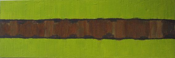 Nr. 2010-HO-021: 120 x 50 cm; Modelliermasse, Rost, Acryl auf Leinwand