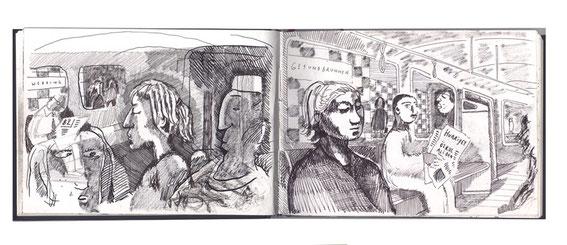 Niels-Schröder zeigt hier einige Doppelseiten aus seinen Skizzenbüchern. Berlin, 2014.