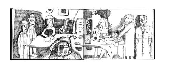 Niels-Schroeder zeigt hier einige Beispiele von Zeichnungen und Illustrationen aus den Skizzenbüchern. Als Gedanken-Archive sind solche Skizzenbücher von unschätzbarem Wert. Berlin, 2014.