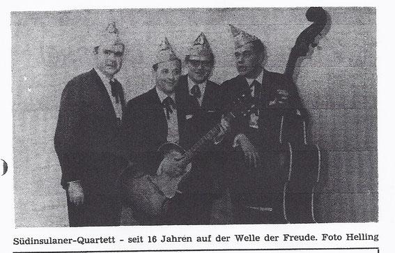 aus dem Festheft von 1967 von links nach rechts: Franz Josef Vois, Franz Josef Tresemer, Peter Masling und Bernd Kremer
