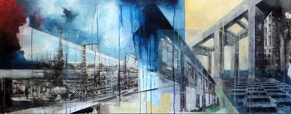 """""""Urban Studies 009""""; Mischtechnik auf Leinwand; 60,0 x 180,0 cm; 2018"""