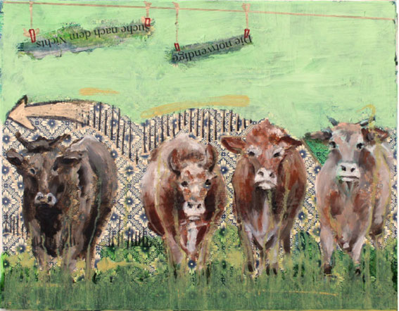 Acryl/Öl/Kollage auf Leinwand, 35 x 45 cm