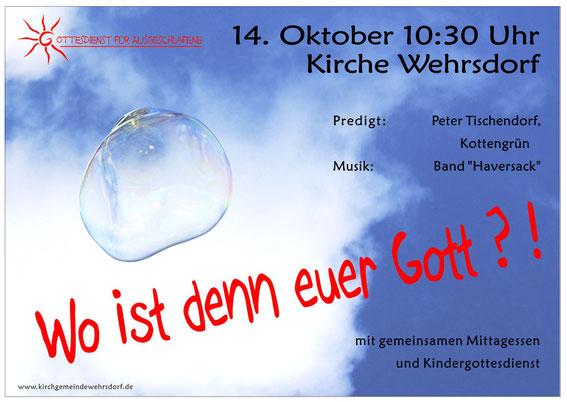 Plakat zum Gottesdienst 14. 10.2012