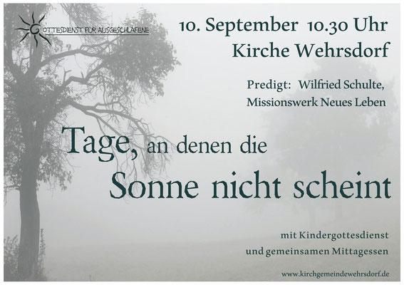 Plakat mit Thomas Steinlein, 18. Juni 10:30 Uhr Kirche Wehrsdorf
