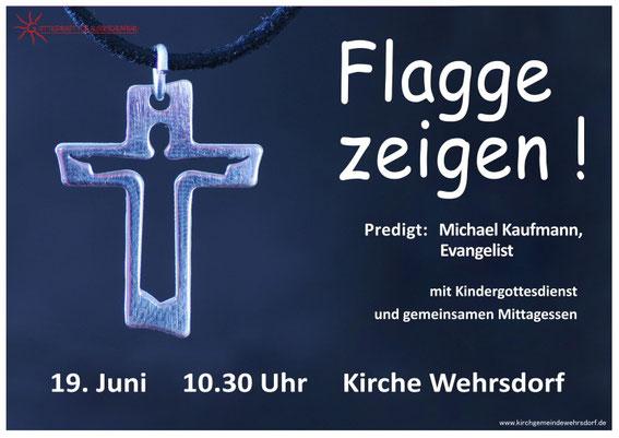 Plakat mit Kreuz