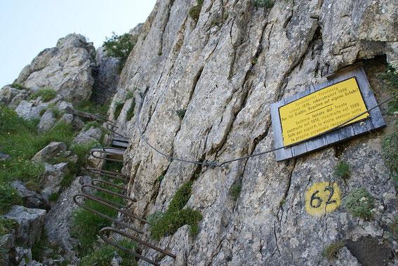 Der versicherte Steig zum Gipfel