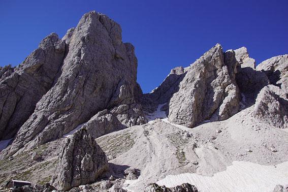 Die Scharte zwischen großer (links) und kleinen Weißenbachspitzen