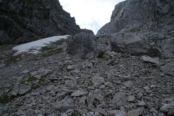 Beim Abstieg von der Lahnscharte, im Winter schaut es hier anders aus