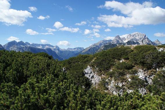 Am Gipfel angekommen, links Kaningruppe, rechts Wischbergmassiv
