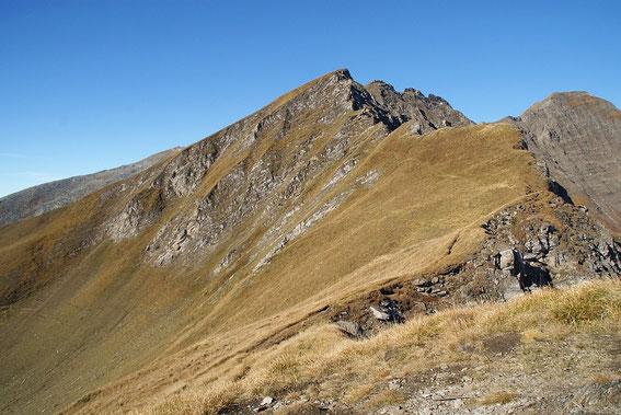 Die steile Querung vom Lonzaköpfl aus; rechts im Bild der Törlkopf