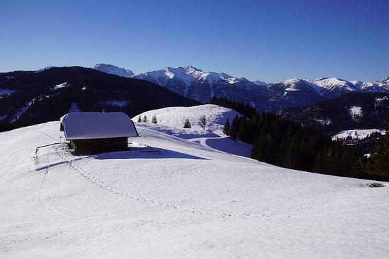 Die Napalnalm mit der Weißbriacher Hütte, im Hintergrund der Karnische Kamm