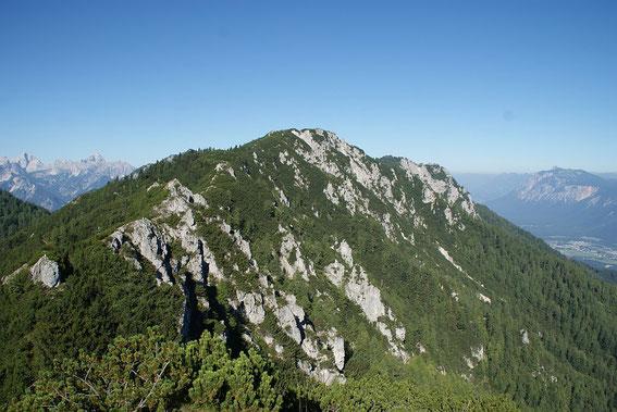 Blick von einer der zahlreichen zu überwindenden Kuppen zum Schwarzkogel. Der markierte Steig führt etwas tiefer auf slowenischer Seite.