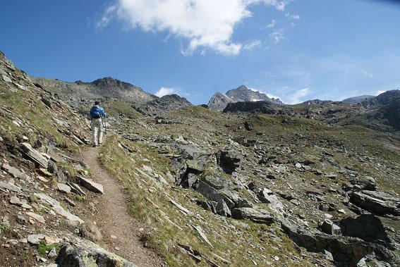 Aufstieg zur Weißspitze (rechts der Bildmitte)