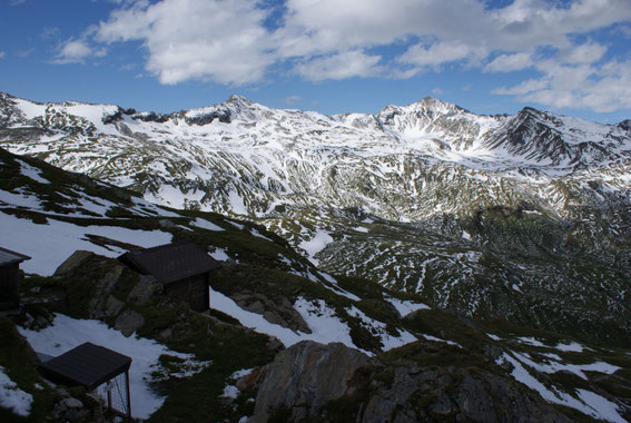 Von der Badener Hütte der Blick zurück zum Wildenkogel (rechts der Bildmitte)