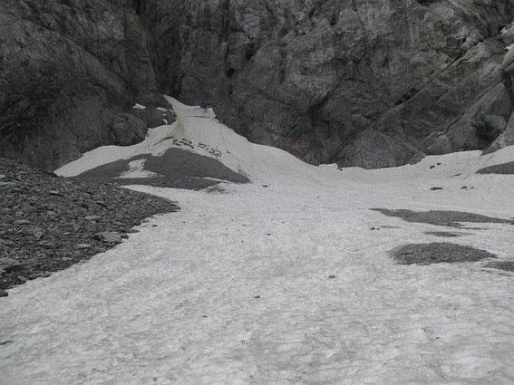 Blick über den Eisscheitel zum Wandfuß. Gut zu erkennen sind auch die großen schuttbedeckten Rücken, unter welchen noch Eis liegt.