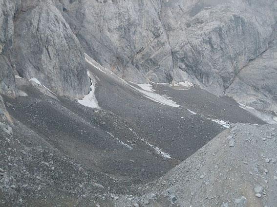 Ein Bild vom Eiskargletscher:  der östliche Teil des Gletschers am 7.9.2005