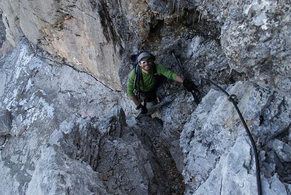 In der Klettersteigstelle am Herzogsteig