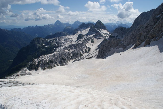 Blick über den ehemaligen Ursicgletscher zum Sella Prevala