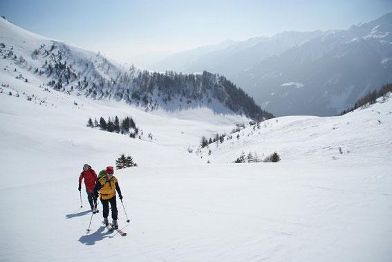 Blick zurück zur Stanerhütte (rechts der Bildmitte)