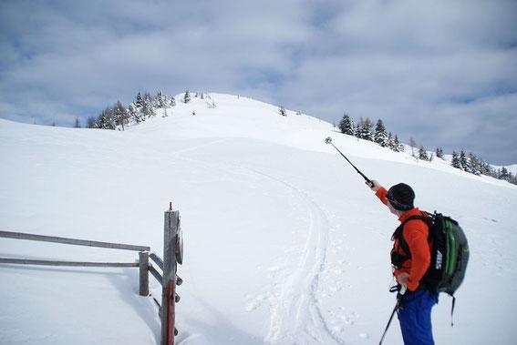 Bei der Planina Dovška Rožca mit Blick zum Gipfel